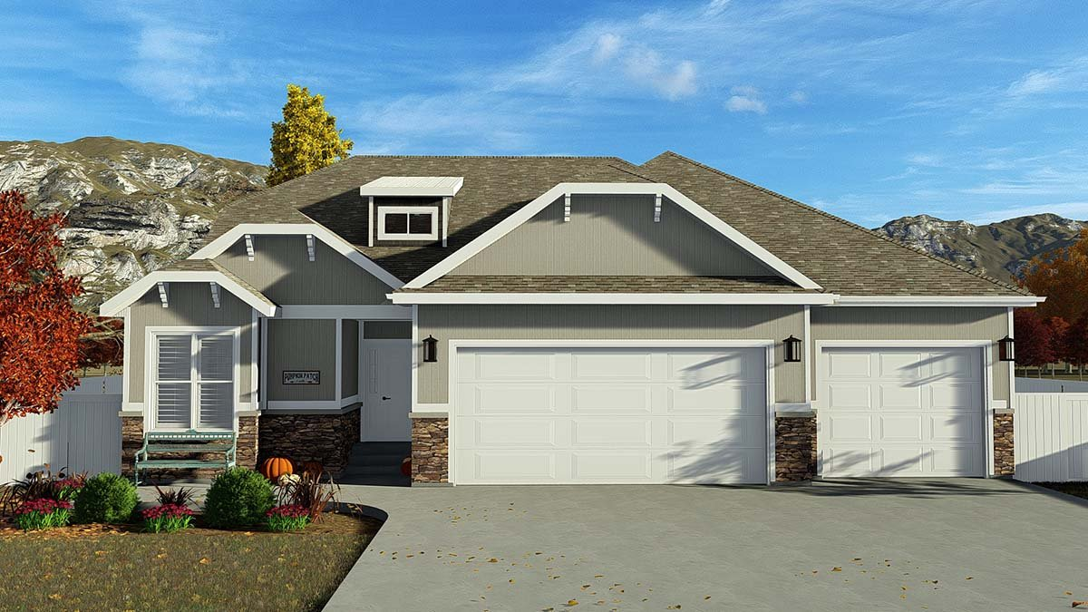 Contemporary, Modern House Plan 50523 with 4 Beds, 3 Baths, 3 Car Garage Elevation
