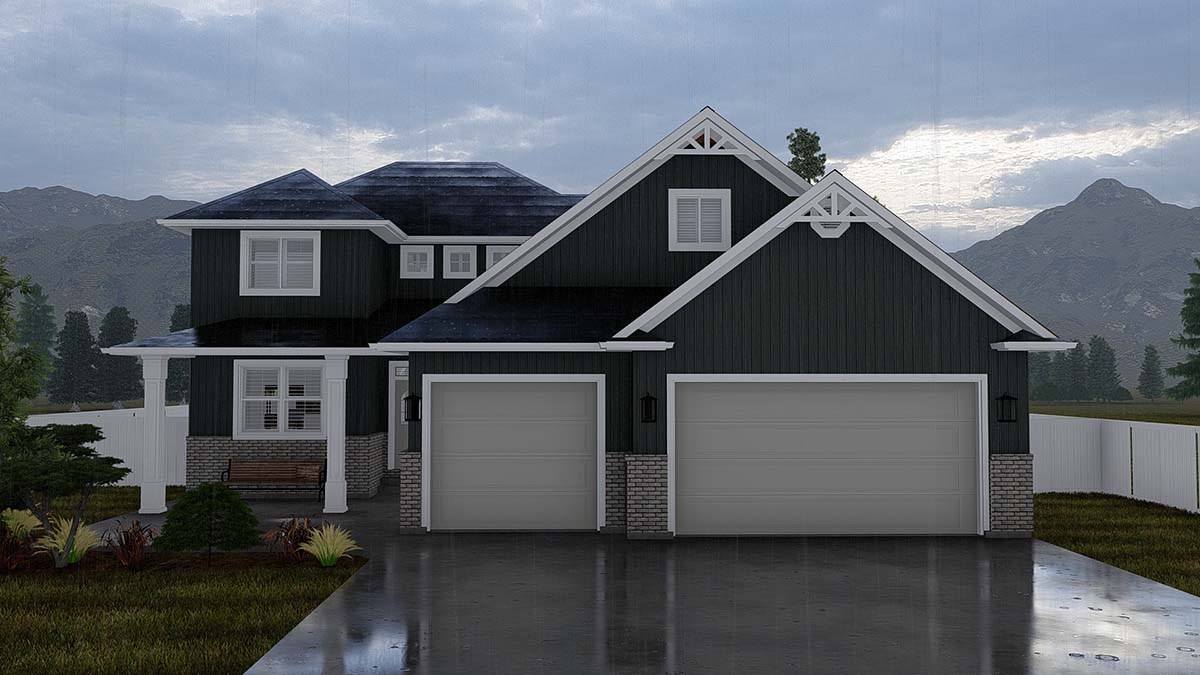Traditional House Plan 50524, 3 Car Garage Elevation