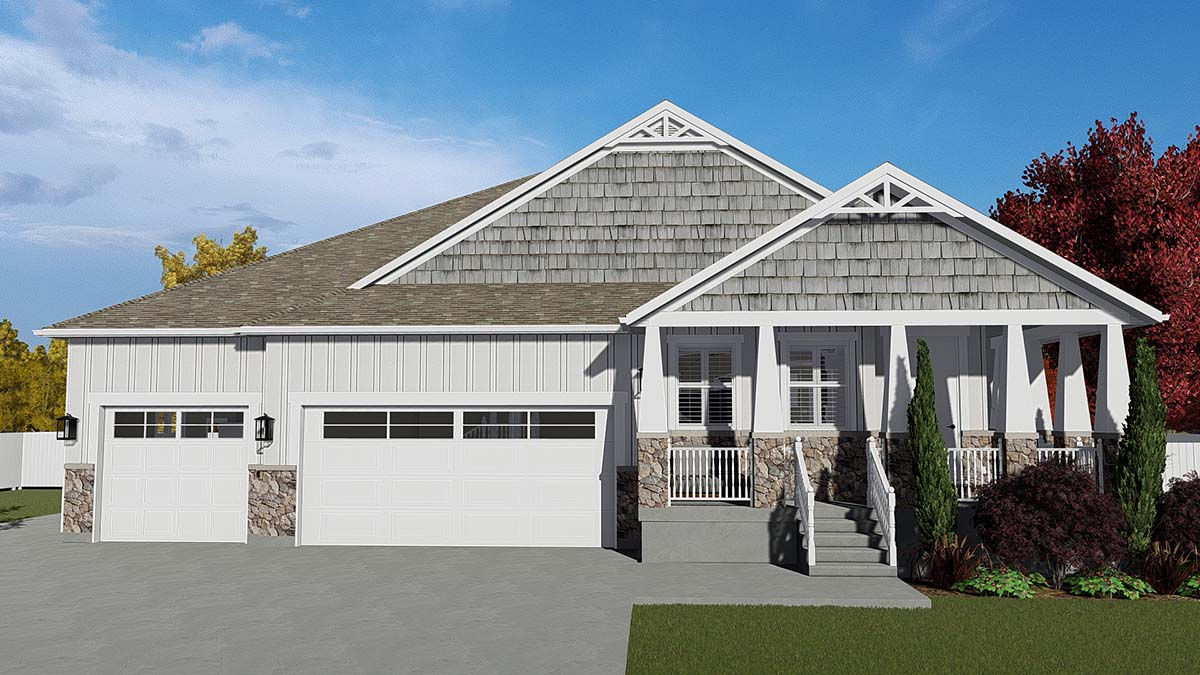 Craftsman House Plan 50526 with 7 Beds, 5 Baths, 3 Car Garage Elevation