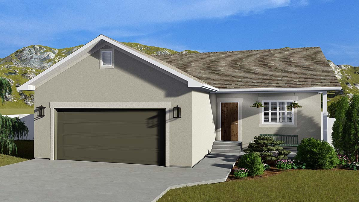 Traditional House Plan 50527 with 4 Beds, 3 Baths, 2 Car Garage Elevation