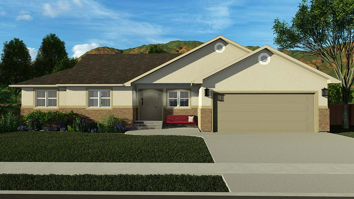 Ranch, Traditional House Plan 50528 with 5 Beds, 4 Baths, 2 Car Garage Elevation