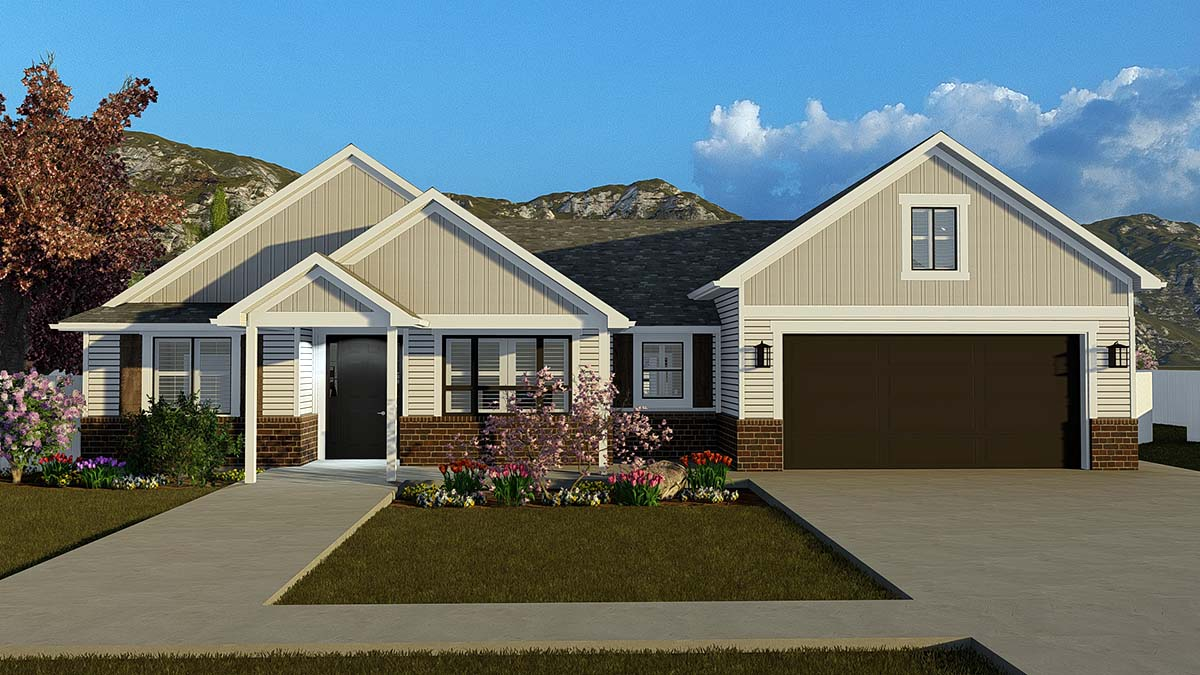 Ranch, Traditional House Plan 50529 with 4 Beds, 3 Baths, 2 Car Garage Front Elevation