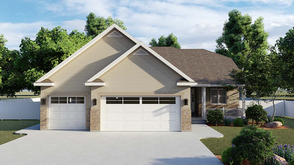 Traditional House Plan 50530 with 6 Beds, 4 Baths, 3 Car Garage Elevation