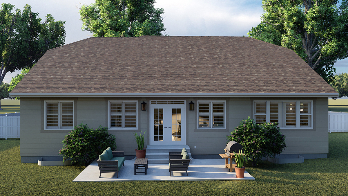 Traditional House Plan 50530 with 6 Beds, 4 Baths, 3 Car Garage Rear Elevation