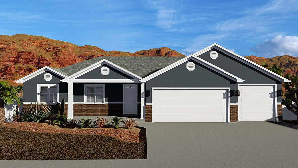 Ranch House Plan 50531 with 6 Beds, 4 Baths, 3 Car Garage Elevation
