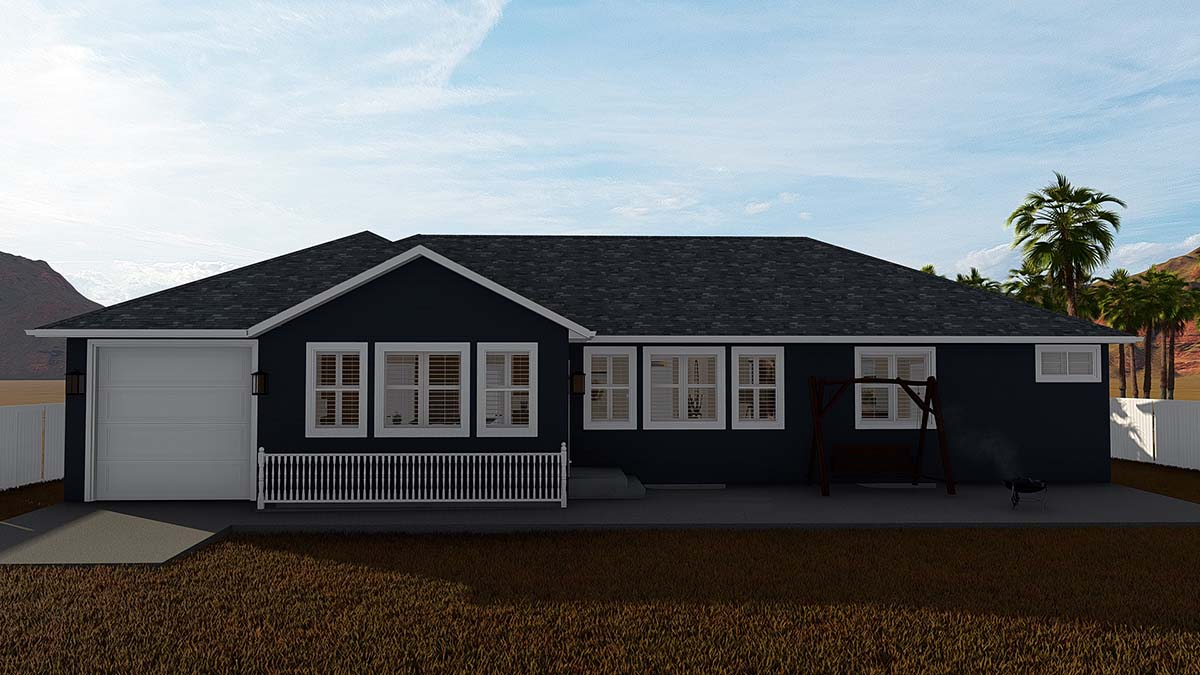 Ranch House Plan 50531 with 6 Beds, 4 Baths, 3 Car Garage Rear Elevation