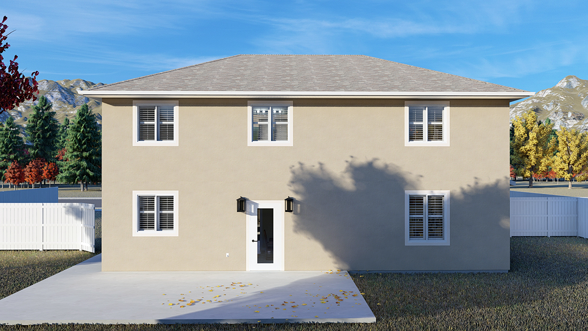Traditional House Plan 50535 with 4 Beds, 2 Baths, 2 Car Garage Rear Elevation