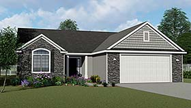 Cottage , Country , Craftsman , Ranch , Traditional House Plan 50601 with 4 Beds, 3 Baths, 2 Car Garage Elevation