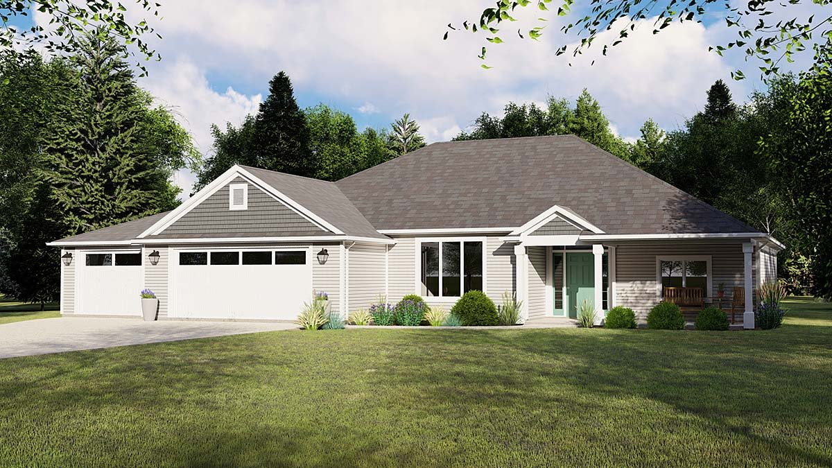 Colonial , Cottage , Country , Craftsman , Ranch , Southern , Traditional House Plan 50605 with 4 Beds, 2 Baths, 3 Car Garage Elevation
