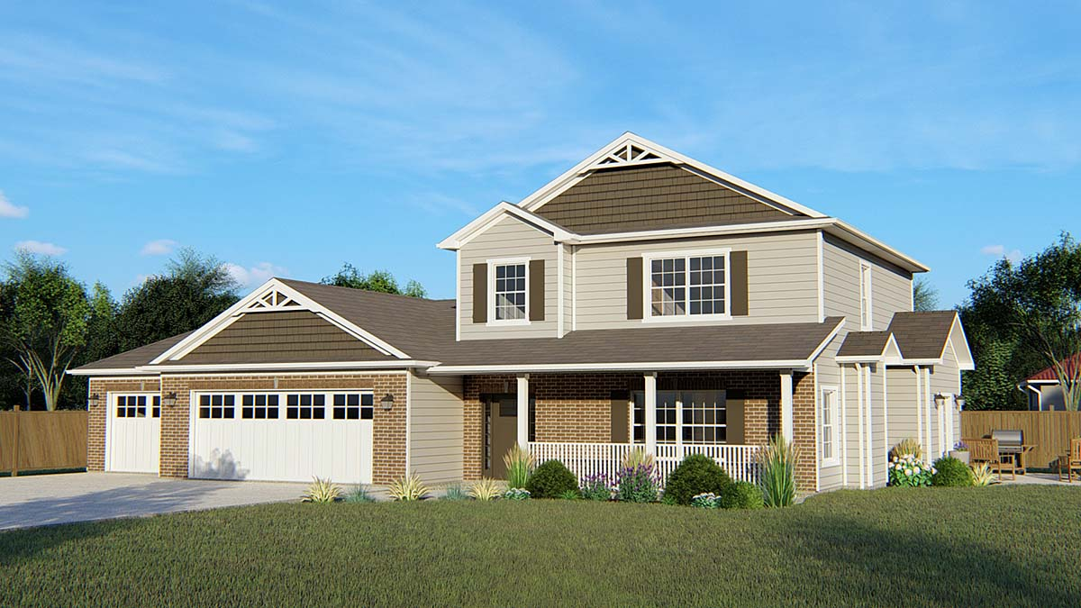 Colonial, Cottage, Country, Craftsman, Ranch, Traditional House Plan 50612 with 3 Beds, 3 Baths, 3 Car Garage Elevation