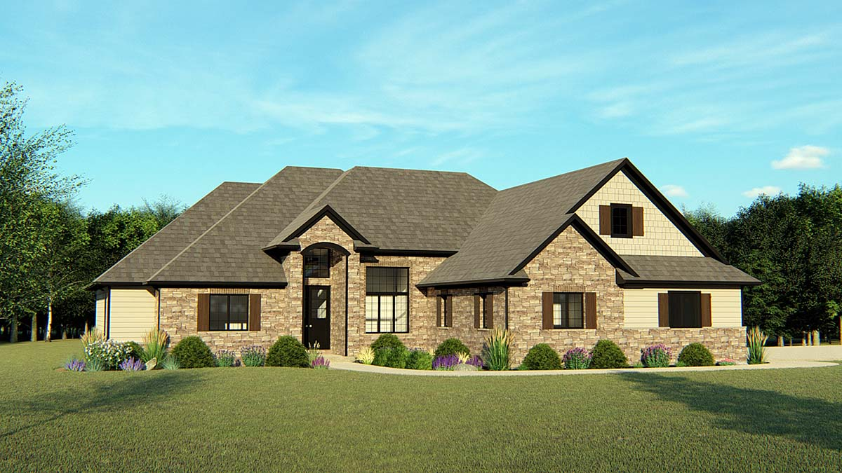 Country, Craftsman, European, Ranch, Traditional House Plan 50613 with 5 Beds, 5 Baths, 2 Car Garage Elevation