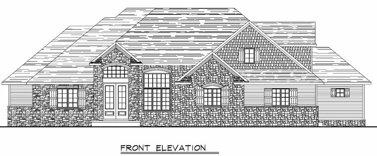 Country, Craftsman, European, Ranch, Traditional House Plan 50613 with 5 Beds, 5 Baths, 2 Car Garage Picture 1