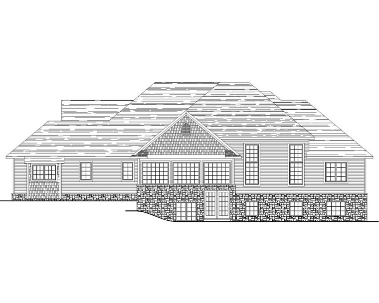 Country, Craftsman, European, Ranch, Traditional House Plan 50613 with 5 Beds, 5 Baths, 2 Car Garage Rear Elevation