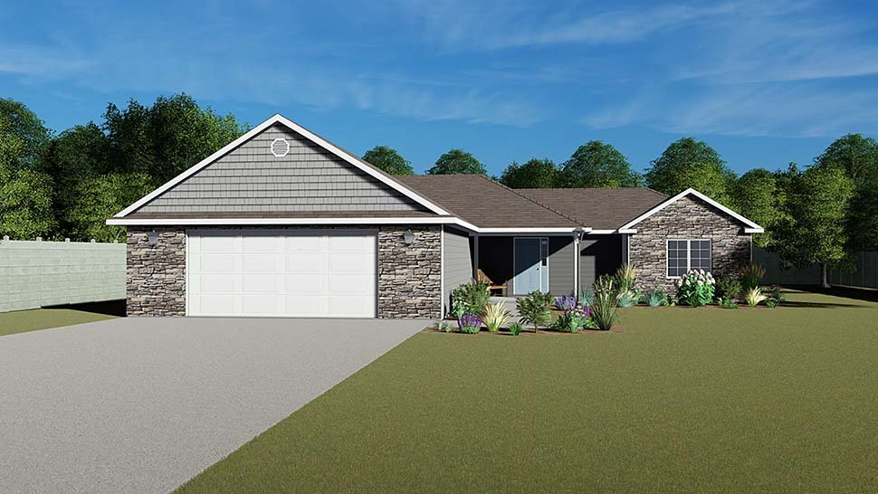 Colonial, Cottage, Country, Craftsman, Ranch, Traditional House Plan 50615 with 3 Beds, 3 Baths, 2 Car Garage Elevation