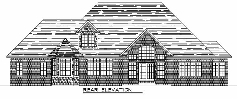 Colonial Country Craftsman European Traditional House Plan 50620 Rear Elevation