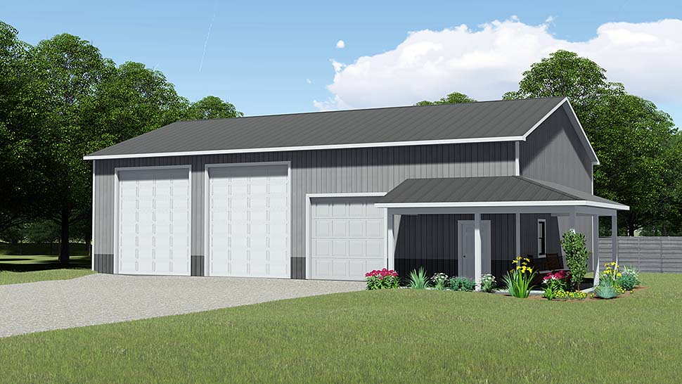 3 Car Garage Plan 50621 Elevation