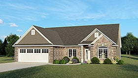 House Plan 50627 | Colonial Cottage Country Craftsman European Ranch Traditional Style Plan with 2012 Sq Ft, 3 Bedrooms, 2 Bathrooms, 2 Car Garage Elevation