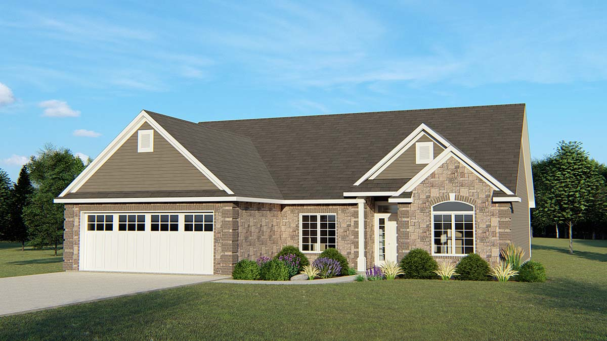 Colonial, Cottage, Country, Craftsman, European, Ranch, Traditional House Plan 50627 with 3 Beds, 2 Baths, 2 Car Garage Elevation