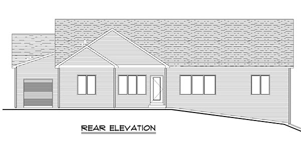 House Plan 50631 | Craftsman, Ranch, Traditional Style House Plan with 4078 Sq Ft, 4 Bed, 4 Bath, 3 Car Garage Rear Elevation