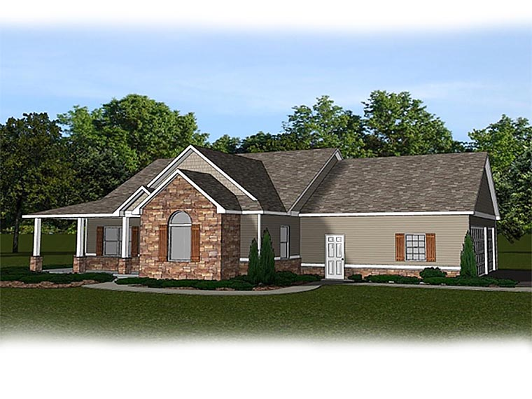 Country Craftsman House Plan 50634 Rear Elevation