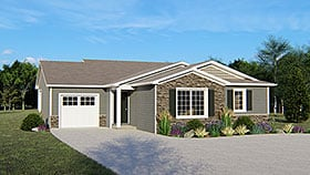 Ranch , Traditional House Plan 50635 with 3 Beds, 2 Baths, 1 Car Garage Elevation