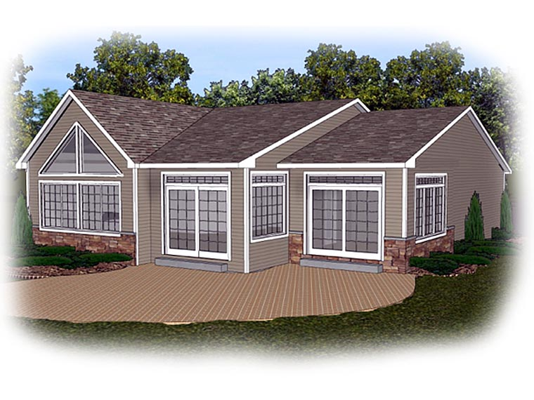 Ranch Traditional House Plan 50635 Rear Elevation