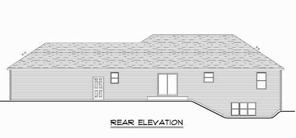 Ranch Traditional House Plan 50636 Rear Elevation