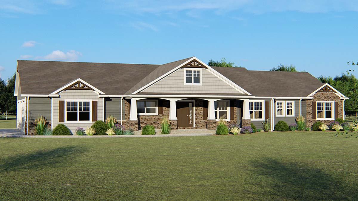 House Plan 50637 | Country Craftsman Ranch Style Plan with 4940 Sq Ft, 3 Bedrooms, 3 Bathrooms, 3 Car Garage Elevation