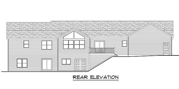Country Craftsman Ranch Rear Elevation of Plan 50637