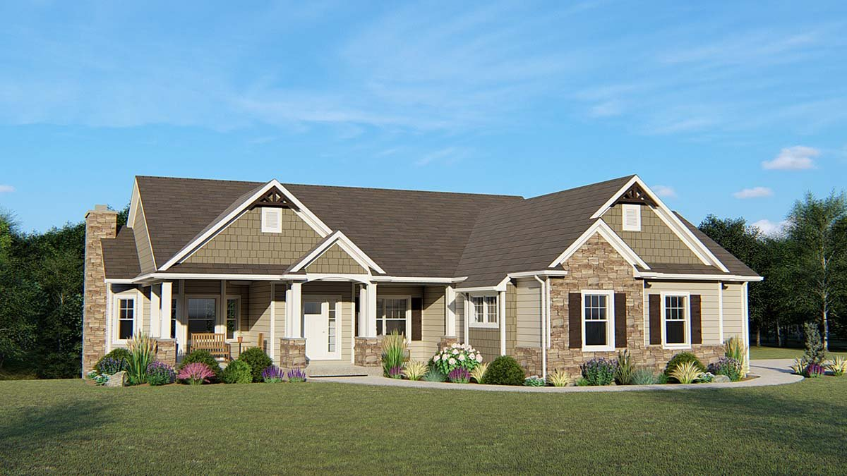 Country , Craftsman , Ranch House Plan 50638 with 3 Beds, 3 Baths, 2 Car Garage Elevation