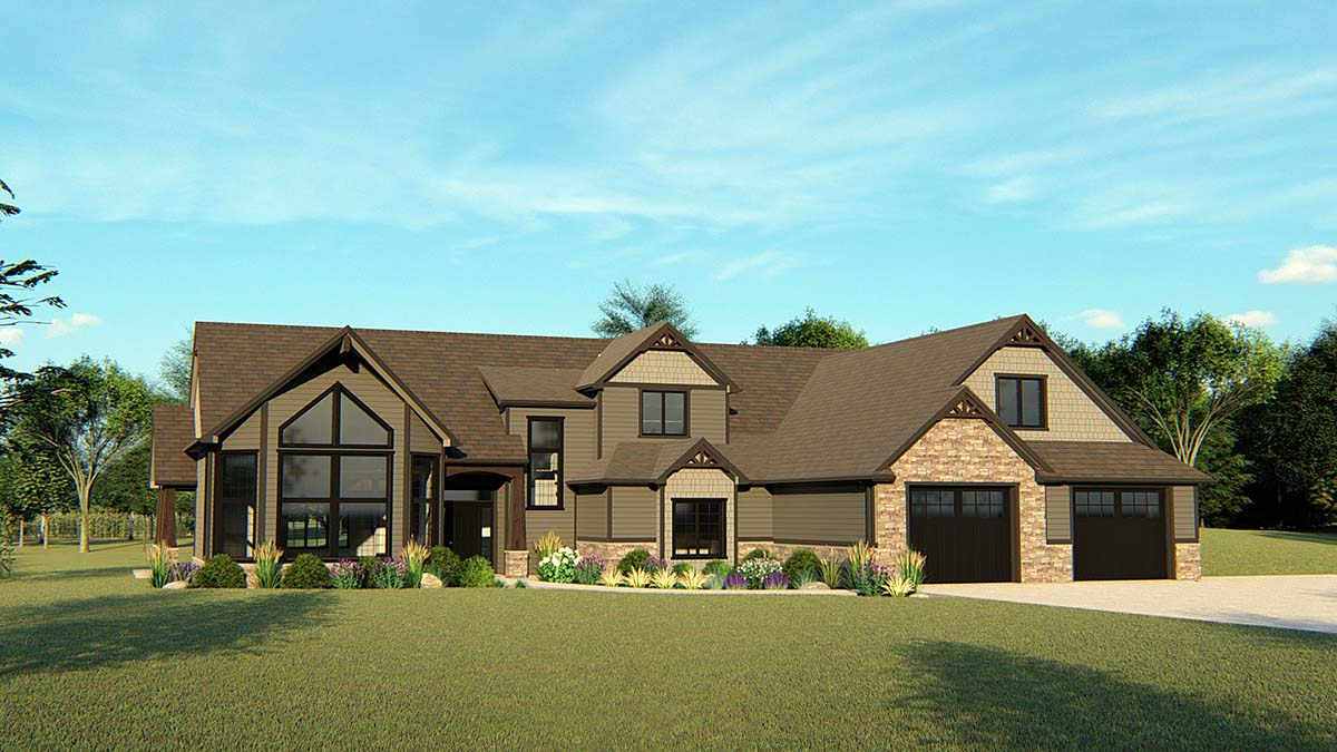 Contemporary , Craftsman House Plan 50639 with 3 Beds, 3 Baths, 2 Car Garage Elevation