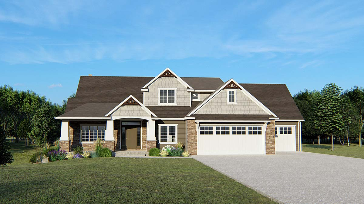 Cottage , Country , Craftsman House Plan 50640 with 5 Beds, 5 Baths, 3 Car Garage Elevation