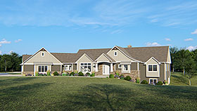 House Plan 50642 | Contemporary Craftsman Traditional Style Plan with 3935 Sq Ft, 3 Bedrooms, 5 Bathrooms, 3 Car Garage Elevation