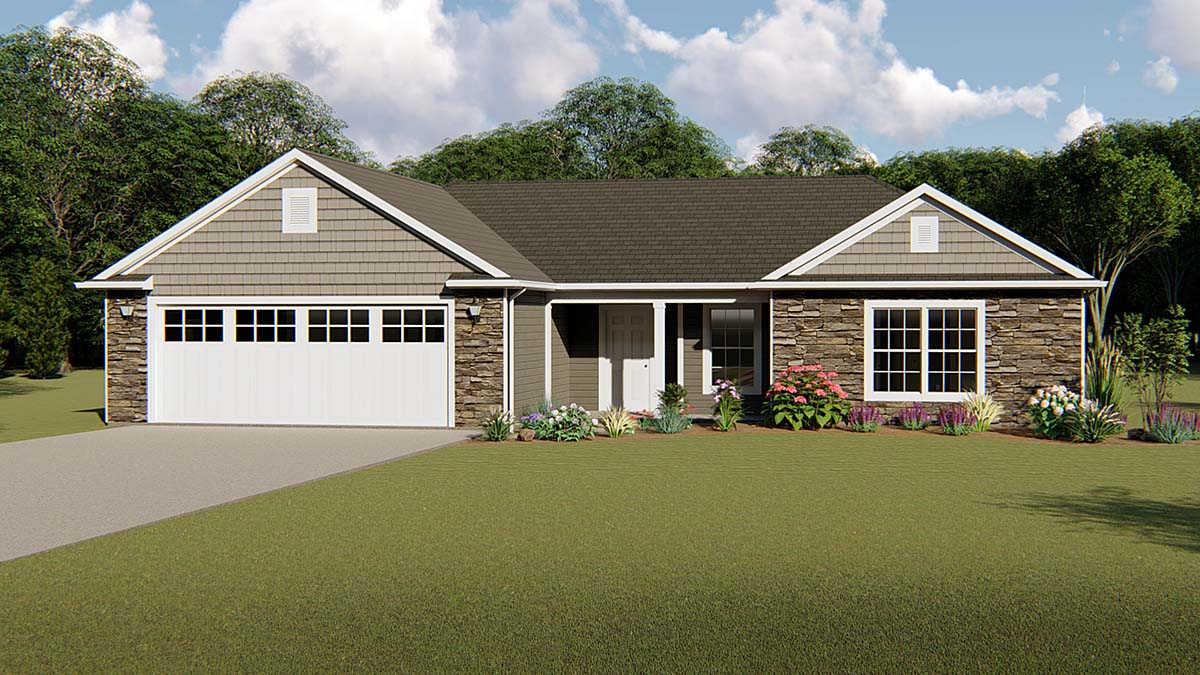 Ranch , Traditional House Plan 50643 with 3 Beds, 2 Baths, 2 Car Garage Elevation
