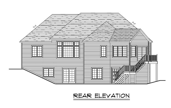 Craftsman European Ranch Traditional House Plan 50648 Rear Elevation