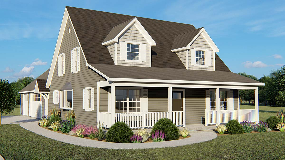 Cape Cod, Country, Southern House Plan 50649 with 3 Beds, 3 Baths, 3 Car Garage Elevation