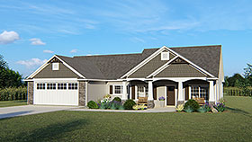 Country Craftsman Ranch Traditional House Plan 50650 Elevation