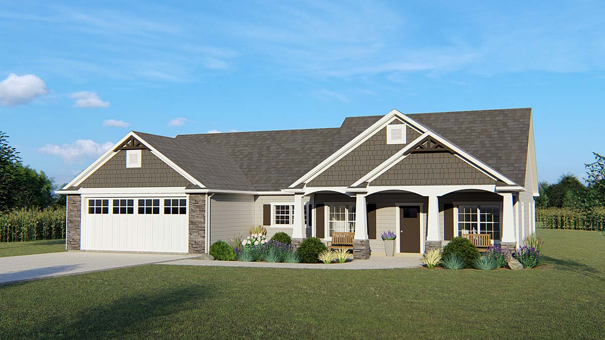 Country , Craftsman , Ranch , Traditional , Elevation of Plan 50650