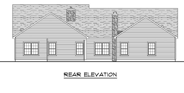 Country , Craftsman , Ranch , Traditional , Rear Elevation of Plan 50650