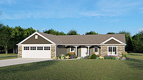 Craftsman Ranch House Plan 50651 Elevation