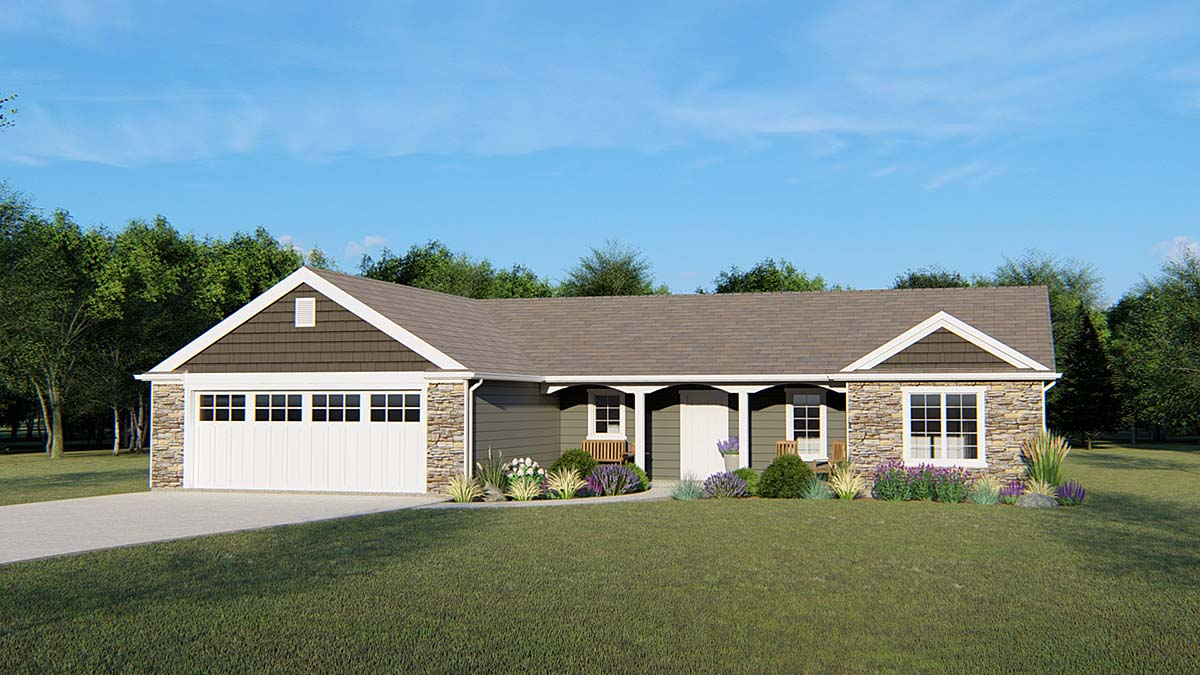 Ranch , Craftsman House Plan 50651 with 3 Beds, 3 Baths, 2 Car Garage Elevation