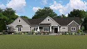 Country Craftsman Ranch House Plan 50652 Elevation