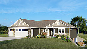 Traditional House Plan 50654 with 3 Beds, 2 Baths, 3 Car Garage Elevation