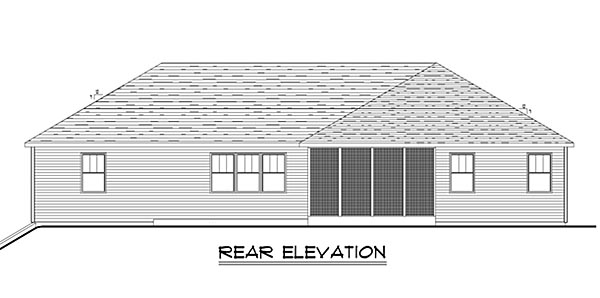 Traditional House Plan 50654 with 3 Beds, 2 Baths, 3 Car Garage Rear Elevation