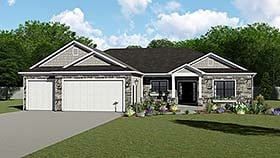 Traditional , Ranch , Country House Plan 50655 with 4 Beds, 3 Baths, 3 Car Garage Elevation