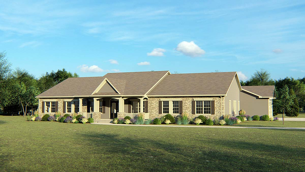 House Plan 50656 | Cottage Country Ranch Style Plan with 3930 Sq Ft, 4 Bedrooms, 5 Bathrooms, 3 Car Garage Elevation