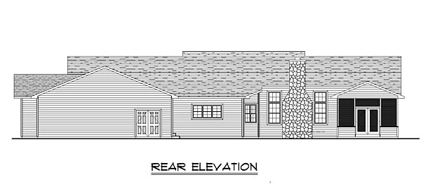 House Plan 50656 | Cottage Country Ranch Style Plan with 3930 Sq Ft, 4 Bedrooms, 5 Bathrooms, 3 Car Garage Rear Elevation