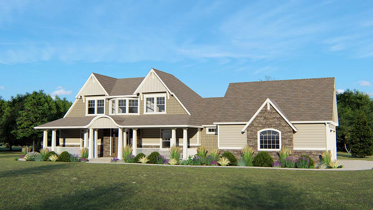 Colonial, Country, Craftsman, Traditional House Plan 50659 with 5 Beds, 5 Baths, 2 Car Garage Elevation