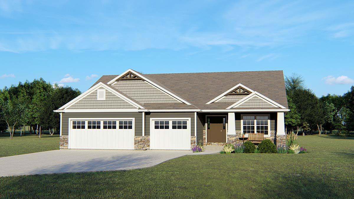 Cottage Craftsman Ranch Traditional House Plan 50660 Elevation