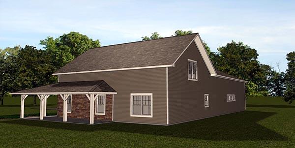 Cottage Country Craftsman Garage Plan 50661 Rear Elevation